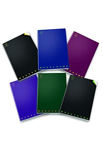 Pigna monocromo dark fluo 02298724m, quaderno formato a4, rigatura 4m, quadretti 4 mm per 4° e 5° elementare medie e superiori, carta 100g/mq, pacco da 10 pezzi
