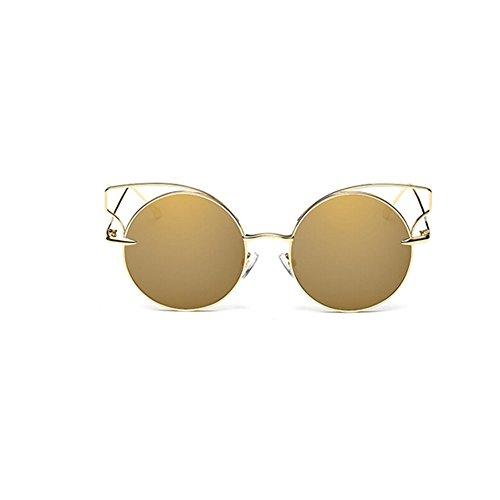 Frauen Katzenaugen Sonnenbrille Marke Design Sonnenbrille Runde Legierung Rahmen Sonnenbrillen UV400 Schutz (Gold)