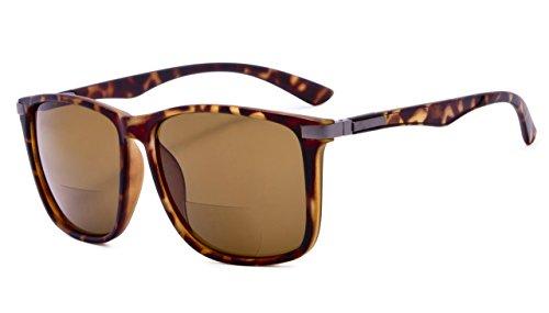 Eyekepper Große quadratische bifokale Sonnenbrille für Männer und Frauen (Schildkröte Braun, 3.00)