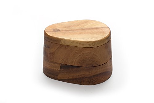 Ironwood Gourmet, Acacia Wood, 5.625-inch 4.125-inch by 3.625-inch Double Layer Swivel Salt Box by Ironwood Gourmet (5.625)