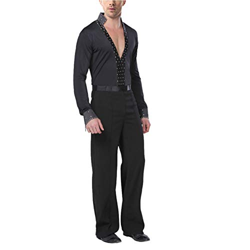 Kostüm Tanz Tango Männer - Daytwork Latein Ballsaal Tanz Kostüm Herren - Männer Schwarz Lange Ärmel Hemden Hosen Outfits Dancewear Kleid Jazz Performance Bekleidung Tango Rumba Samba Party