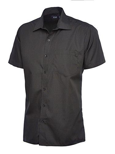 Herren Popeline Half Sleeve Shirt Casual Formale Business Arbeit Uniform Sicherheit UC710[schwarz] [2x l] Grün - Lime
