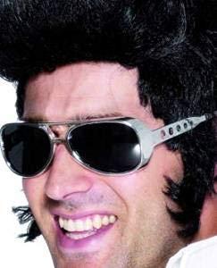 Seemeinthat Elvis Presley Sonnenbrille für Erwachsene, Silber, 1970er Jahre