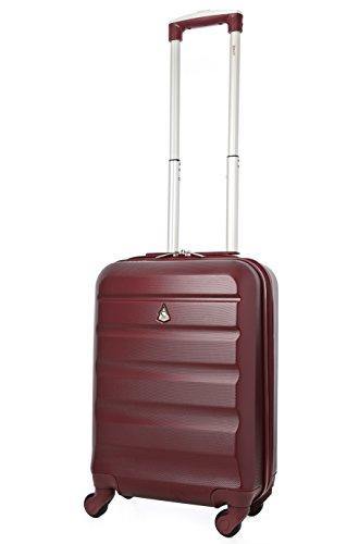 Aerolite ABS Bagage Cabine à Main Valise Rigide Léger 4 Roulettes, 55cm, Vin Rouge