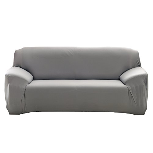 Fashion Slipcover Stretchable Pure Color Sofa Cushion Cover (Loveseat Grey)