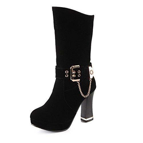 VogueZone009 Donna Tirare Tacco Alto Chiodato Bassa Altezza Stivali con Fibbia Nero