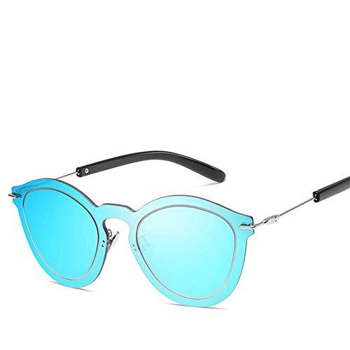 SUPOFAIXIN Randlose Vintage Blaue Farbe Sonnenbrille Frauen Cat Eye Shades Sonnenbrille für Männer Spiegel Gläser weiblich