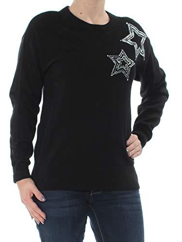 Michael Kors $125 Womens New 1201 Black Star Rhinestone Long Sleeve Top XXL B+B