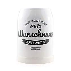 """Bavariashop Bierkrug""""Hopfensmoothie"""" mit Wunschtext, Steinkrug, 0,5 Liter, Geschenkidee aus Bayern"""