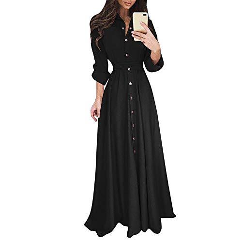 Damen Kleider,Daongff Elegant Maxikleid Vintage 1950erBoho Lang Maxi Kleid Abendkleider Ballkleid Solid Casual Partykleid mit Taschen Gürtel -