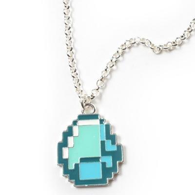 Preisvergleich Produktbild Minecraft - Diamond Anhänger mit Kette, cooler Gamer Schmuck für Sie und Ihn