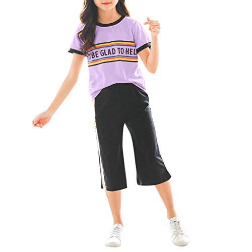 Julhold Teen Kinder Mädchen Mode Lässig Regenbogen Kurze Trainingsanzug Tops Lose Hosen Sport Anzüge Outfits 3-13 Jahre (Trainingsanzug Teen Kostüm)