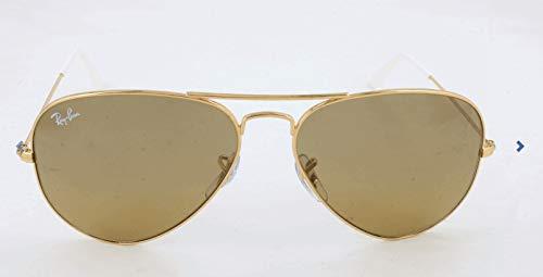 Ray Ban Unisex Sonnenbrille Aviator, Gr. Large (Herstellergröße: 55), Gold (gold 001/3K)