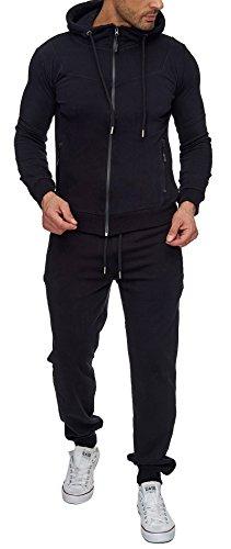 Reslad Trainingsanzug Herren Jogginganzug für Männer Sportanzug Freizeitanzug Jogginghose + Zip Sweatshirt Oberteil RS-5063 Schwarz 2XL