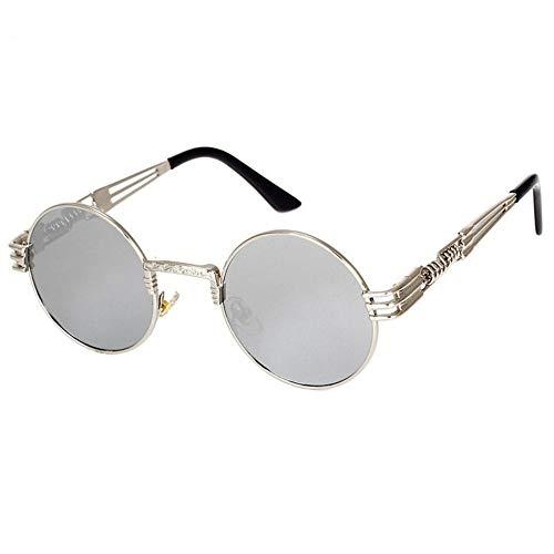 Sonnenbrille Retro Brille Gold Brille Frames Brillen Für Frauen Vintage Steampunk Runde Klar Mode Brille Männer Männliche Nerd Metall, Weiß Quecksilber