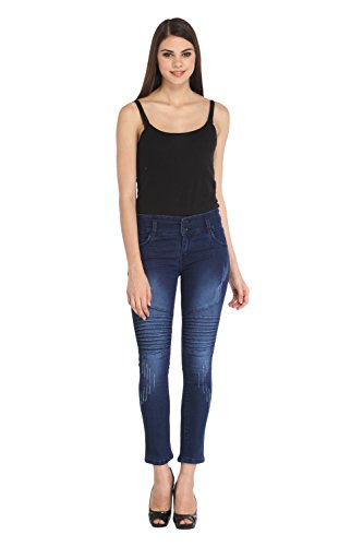 Lequary Women's Skinny Fit Front Pleeted Ripped Denim Jeans - Classic Blue 28