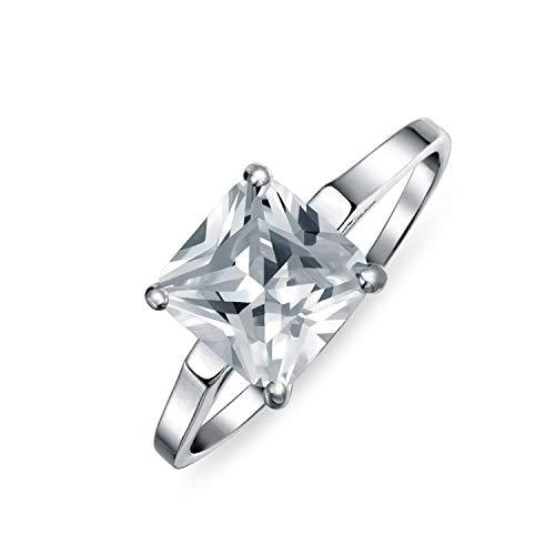 Bling Jewelry Einfache 2.5Ct Zirkonia Brillanter Prinzessinschliff AAA CZ Solitär Verlobungsring Dünne Band 925 Sterling Silber (Gelber Princess-cut Diamant-ring)