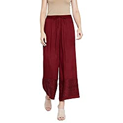 BE INDI Women Maroon Coloured Solid Palazzo 10032