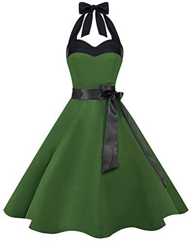 Dot Retro Neckholder (Zarlena Damen 50er Retro Rockabilly Pola Dots Petticoat Neckholder Kleid Grün X-Small DROD-PLN-GRN-XS)