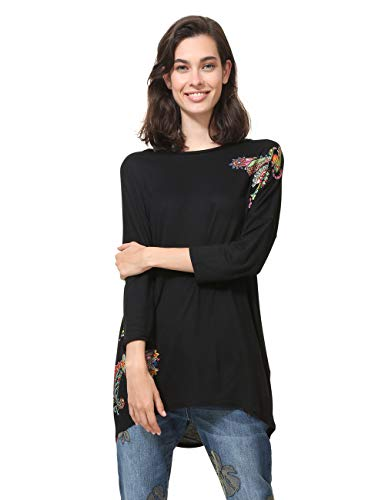 Desigual Damen 3/4 Sleeve Nai Woman Black T-Shirt, Schwarz (Negro 2000), Small