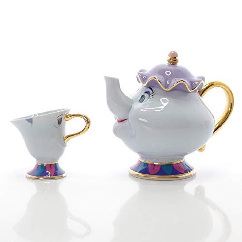 HSXOT Beauty And The Beast Set da tè Completo Mrs. Potts Tazza da Teiera con Zuccheriera Set da Teiera Tazza Carina da Te