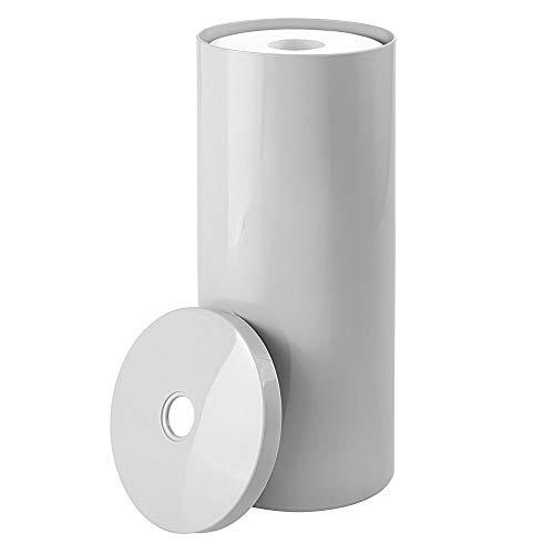 mDesign freistehender Papierrollenhalter - moderner Toilettenpapierhalter stehend fürs Badezimmer - dezenter Klopapierhalter mit Deckel aus Kunststoff - hellgrau