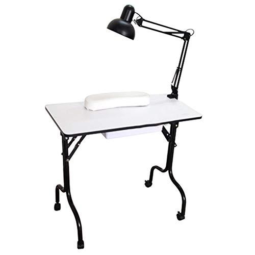 Table Manucure Studio Table de manucure Ménage Étudiant Dortoir Portable Table à ongles simple Tiroir coulissant Table avec lampe de table Blanc