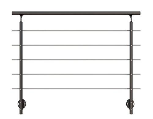 Modernes Geländer-Set in Anthrazit aus Aluminium mit Edelstahl-Geländerstäben. Für seitliche Montage. Länge 1500 mm (kürz- und verlängerbar). Als Treppengeländer, Brüstungsgeländer, Balkongeländer oder Terrassengeländer einsetzbar. Geeignet für den Innen- und Außenbereich.