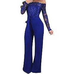 DressLksnf Pantalon Large Robe de Soirée Sexy Elegant Paillettes de Soirée Combinaison à épaules dénudées Pantalons (M, Bleu2)