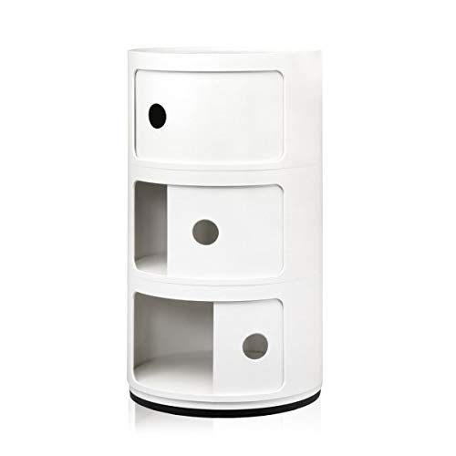 Moderner Runder Schrank (Costello® 2 3 4 5 weiße Schubladen-Nachttisch Schrank Moderner Möbelbehälter Kombili 3 Tier)