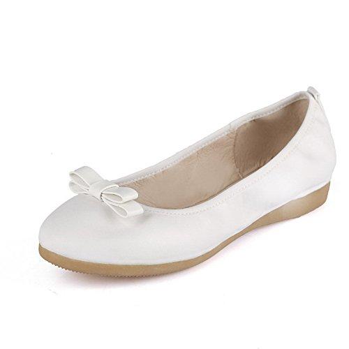 AgooLar Damen Ziehen Auf Niedriger Absatz Blend-Materialien Rein Rund Zehe Pumps Schuhe Weiß