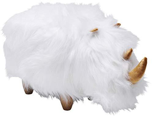 Kare Design Hocker Rhino Fur Weiß, flauschiger Sitzhocker als Nashorn, Polsterhocker Rhino, Fußhocker, weiche Sitzfläche (H/B/T) 37x73x36cm