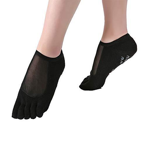 CAMORNY Yoga Socken rutschfeste Damen Fitness Socken Ergonomische Socken für Ballett Pilates Yoga Sport Fünf Zehen rutschfeste Atmungsaktive Socken 4 Paar,a - Greifer Zehen-socken