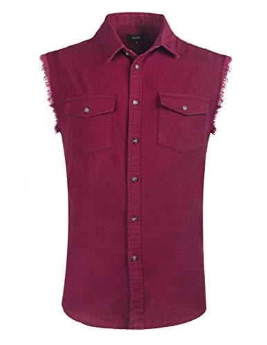 SOOPO Hemden Herren àrmellose Oxford Button-Down Freizeit Hemden Männer àrmellose-Oxford-Hemd, Weinrot, M -