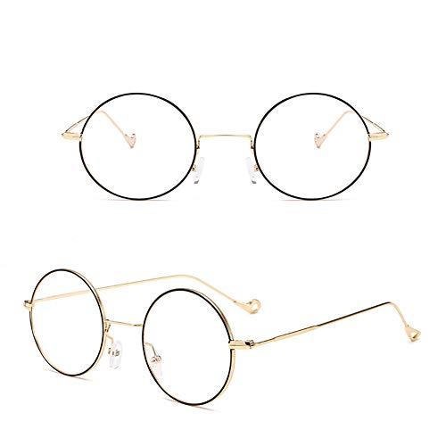 Xiton Klassischer MetallRahmen Rundkreis gespiegelt Sonnenbrille Unisex Sonnenbrille Vintage Sonnenbrille für Jungen und Mädchen (schwarzer Gold Rahmen und transparenter Film)