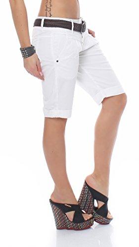 FRESH MADE angesagte Damen Bermuda im Chino Style. Kurze sommerliche Shorts 0080F Weiß