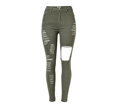 Byjia Femmes Jeans Haute Taille Denim Élastique Stretchy Disco Slim Slins Trouser Zipper Pocket Street Pants . Army Green . 42