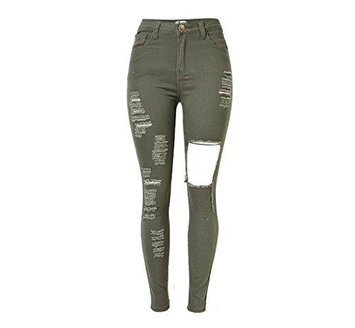 Wgwioo Frauen Jeans Hohe Taille Denim Elastische Stretchy Disco Skinny Slim Löcher Hosen Reißverschluss Pocket Street Pants . Army Green . 32 (Jeans Elastische Taille Wrangler)
