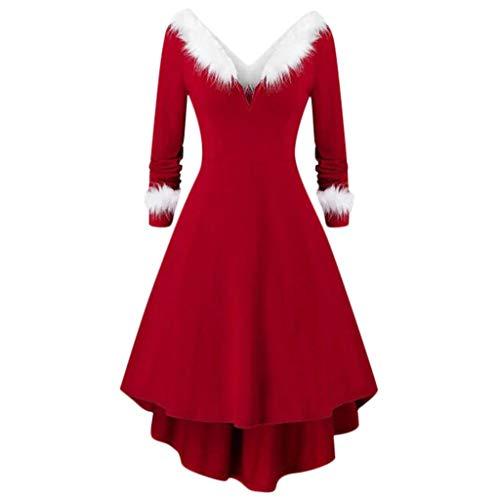 byeel Damen Weihnachtskostüm Weihnachten Party Mäntel Weihnachtsmann Kostüm Santa Claus Kostüm Langarm Weihnachtskleider Weihnachtsfrau Maxi Mäntel Rot (rot-A, L)