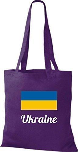 Camicia In Tessuto Borsa In Cotone Borsa Country Iuta Ucraina Ucraina Colore Marrone Chiaro Viola