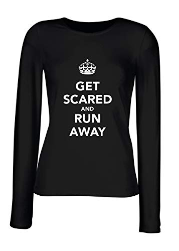 T-Shirt Langer Armel Frauen Schwarz TKC3807 GET Scared and Run Away