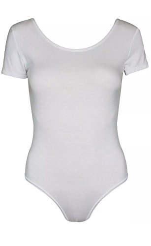 Islander Fashions Damen Cape Kurzarm Low Back Trikot Bodysuit Damen Scoop Neck Stretchy Top White Small/Medium (Top Neck Deep Scoop)