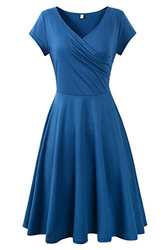 Genhoo Damen Casual Kleid A-Linie Sommerkleider Kurzarm V-Ausschnitt Wickelkleid Vintage Abendkleid...
