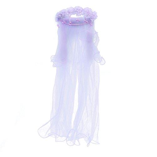 BESTOYARD Hochzeit Schleier Brautschleier Kinder Mädchen Stirnband mit Schleier Hochzeit Kommunion Krone (Lila) (Kinder Erste Schleier Kommunion Die)