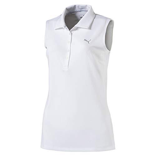 Puma Damen Pounce Sleeveless Polo Shirt, Bright White, M