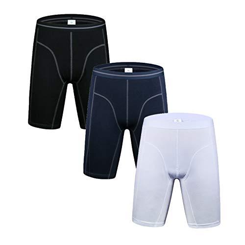 Nuofengkudu Herren Langes Bein Sport Boxershorts Männer Nahtlose Baumwolle Bequeme Unterhosen Bulge Unterwäsche Shorts (3er Pack) Weiß/Blau/Schwarz 3XL -