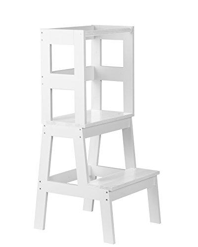 BOMI® Babystuhl Swubi aus Holz für Kinder ab dem Stehalter | Hocker zweistufig extra hoch | Trittschemel, Tritthocker für Mädchen und Jungen, Kleinkind | Schemel mit 2 Stufen für Waschbecken und Küche