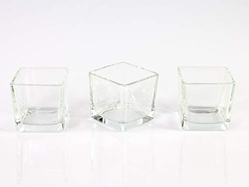 INNA-Glas 3x Farolillo pequeño Cristal - Té luz Cristal Kim, Transparente, 8x 8x 8cm - Mesa Luz - Decoración de Cristal - Inna