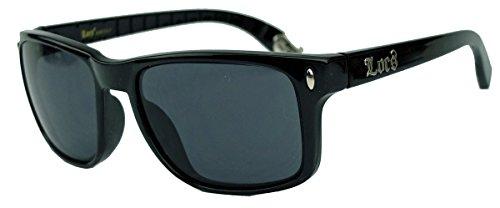 LOCS® Herren Sonnenbrille klassische Form schmale Bügel mit Logo 45