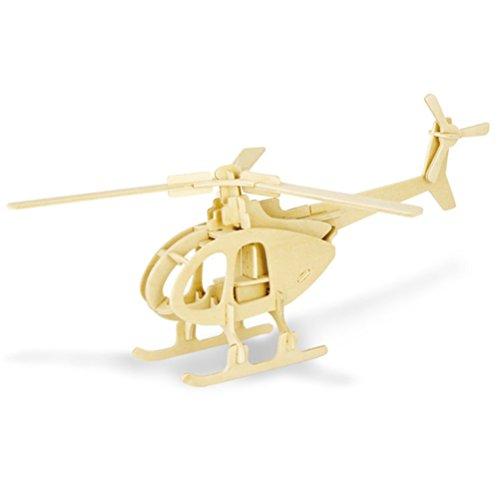 TOYMYTOY 3D Holzbausatz Holzpuzzle Kinder Modellbau Holz Bausatz zum Zusammenstecken Pädagogisches Spielzeug Geschenk (Hubschrauber)